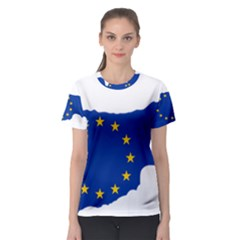 European Flag Map Of Cyprus  Women s Sport Mesh Tee