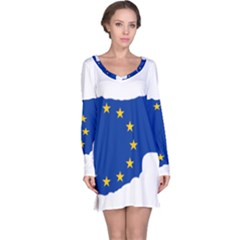 European Flag Map Of Cyprus  Long Sleeve Nightdress