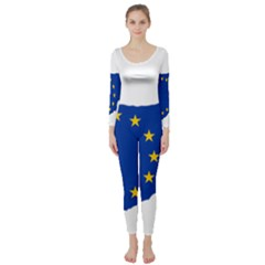 European Flag Map Of Cyprus  Long Sleeve Catsuit