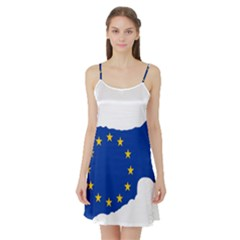 European Flag Map Of Cyprus  Satin Night Slip