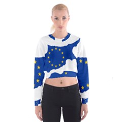 European Flag Map Of Cyprus  Women s Cropped Sweatshirt