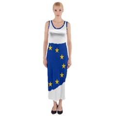 European Flag Map Of Cyprus  Fitted Maxi Dress