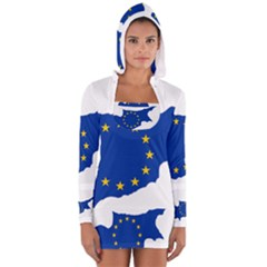 European Flag Map Of Cyprus  Women s Long Sleeve Hooded T Shirt