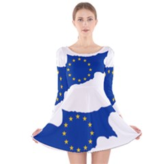 European Flag Map Of Cyprus  Long Sleeve Velvet Skater Dress