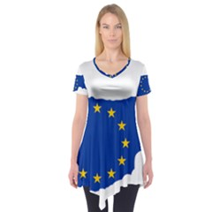 European Flag Map Of Cyprus  Short Sleeve Tunic