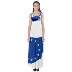European Flag Map Of Cyprus  Empire Waist Maxi Dress