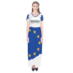 European Flag Map Of Cyprus  Short Sleeve Maxi Dress