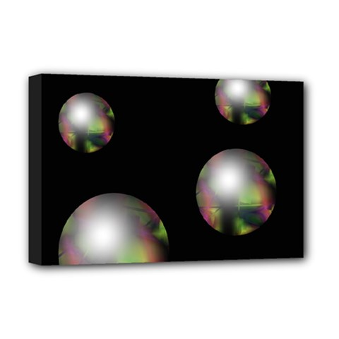 Silver Pearls Deluxe Canvas 18  X 12   by Valentinaart
