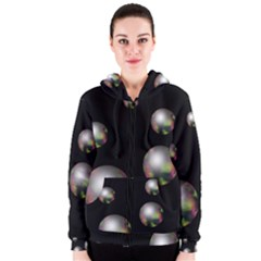 Silver Pearls Women s Zipper Hoodie by Valentinaart