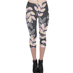 Winter Foliage Capri Leggings  by DanaeStudio