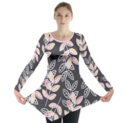 Winter Foliage Long Sleeve Tunic  by DanaeStudio