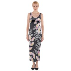 Winter Foliage Fitted Maxi Dress by DanaeStudio