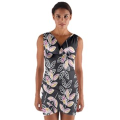 Winter Foliage Wrap Front Bodycon Dress by DanaeStudio