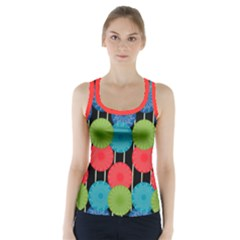 Vibrant Retro Pattern Racer Back Sports Top by DanaeStudio