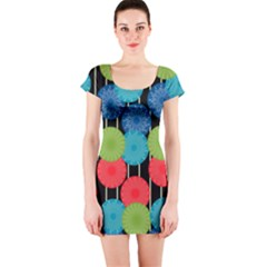 Vibrant Retro Pattern Short Sleeve Bodycon Dress