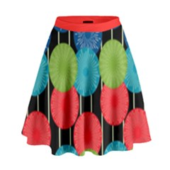 Vibrant Retro Pattern High Waist Skirt