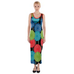 Vibrant Retro Pattern Fitted Maxi Dress