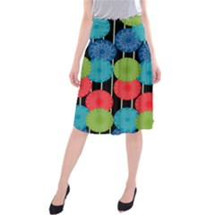 Vibrant Retro Pattern Midi Beach Skirt
