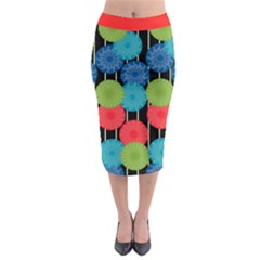 Vibrant Retro Pattern Midi Pencil Skirt