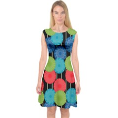 Vibrant Retro Pattern Capsleeve Midi Dress