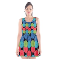 Vibrant Retro Pattern Scoop Neck Skater Dress