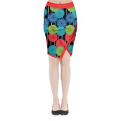 Vibrant Retro Pattern Midi Wrap Pencil Skirt
