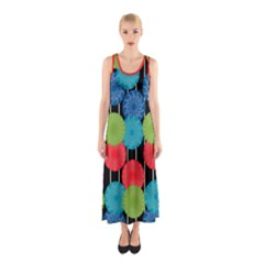 Vibrant Retro Pattern Sleeveless Maxi Dress
