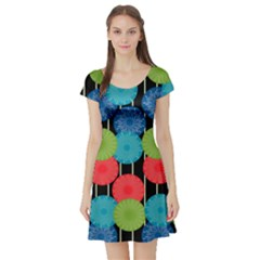 Vibrant Retro Pattern Short Sleeve Skater Dress