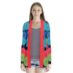 Vibrant Retro Pattern Drape Collar Cardigan