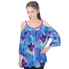 Purple Flowers Flutter Sleeve Tee