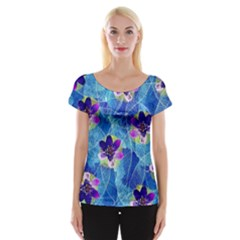 Purple Flowers Women s Cap Sleeve Top by DanaeStudio