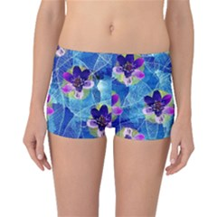 Purple Flowers Boyleg Bikini Bottoms by DanaeStudio