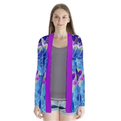 Purple Flowers Drape Collar Cardigan by DanaeStudio