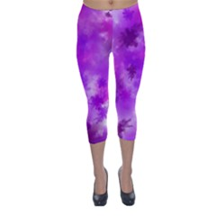 Purple Splatter Pattern Capri Winter Leggings