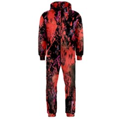 Pink And Black Abstract Splatter Paint Pattern Hooded Jumpsuit (men)  by traceyleeartdesigns