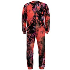 Pink And Black Abstract Splatter Paint Pattern Onepiece Jumpsuit (men)  by traceyleeartdesigns