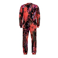 Pink And Black Abstract Splatter Paint Pattern Onepiece Jumpsuit (kids) by traceyleeartdesigns