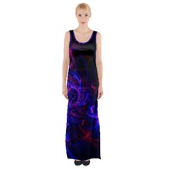 Pink, Red And Blue Swirl Fractal Maxi Thigh Split Dress