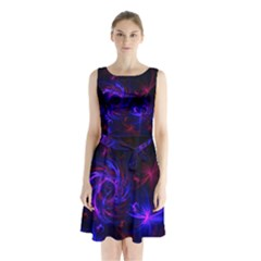 Pink, Red And Blue Swirl Fractal Sleeveless Chiffon Waist Tie Dress