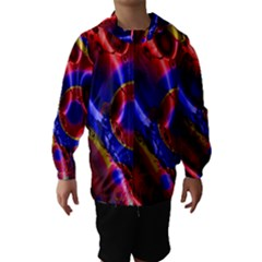 Pink Blue And Red Globe Hooded Wind Breaker (kids) by traceyleeartdesigns
