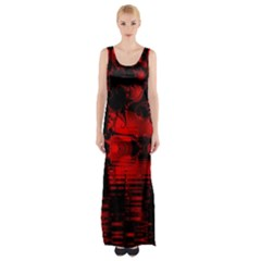 Red And Black Lake Fractal Maxi Thigh Split Dress by traceyleeartdesigns
