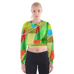 Colorful Abstraction Women s Cropped Sweatshirt by Valentinaart