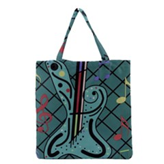 Blue Guitar Grocery Tote Bag by Valentinaart