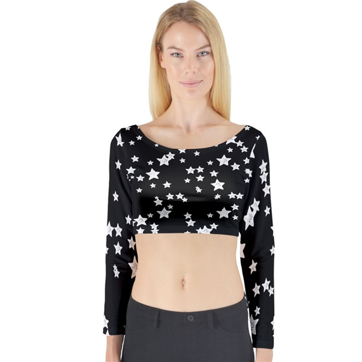 Black and White Starry Pattern Long Sleeve Crop Top (Tight Fit)