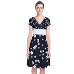 Black And White Starry Pattern Short Sleeve Front Wrap Dress by DanaeStudio