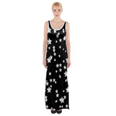 Black And White Starry Pattern Maxi Thigh Split Dress
