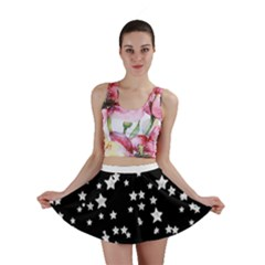Black And White Starry Pattern Mini Skirt