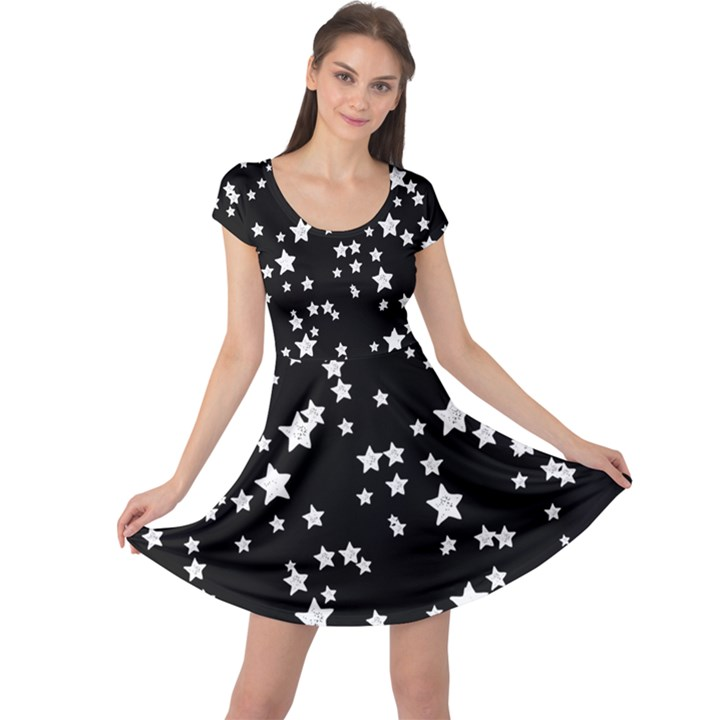 Black and White Starry Pattern Cap Sleeve Dress