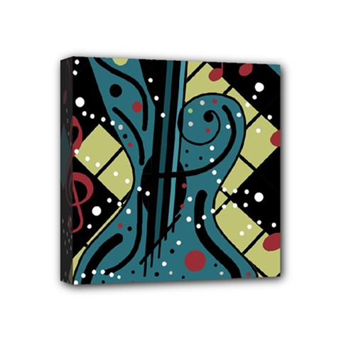 Playful Guitar Mini Canvas 4  X 4  by Valentinaart