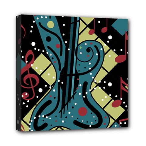 Playful Guitar Mini Canvas 8  X 8  by Valentinaart